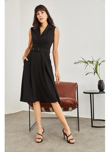 Sortee Kadın Kruvaze Yaka Kemer Detay Kaşkorse Elbise Siyah